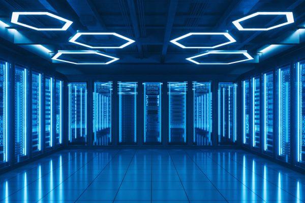 Interior of a futuristic server room.